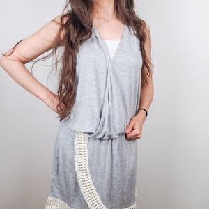 Venus • Jersey Gray Mini Dress Fringe